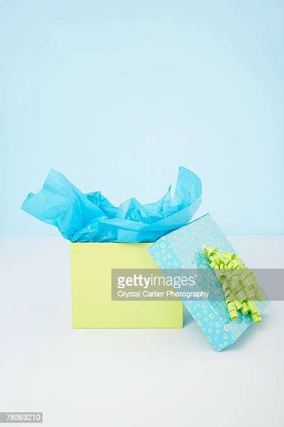 Blue and yellow gift box