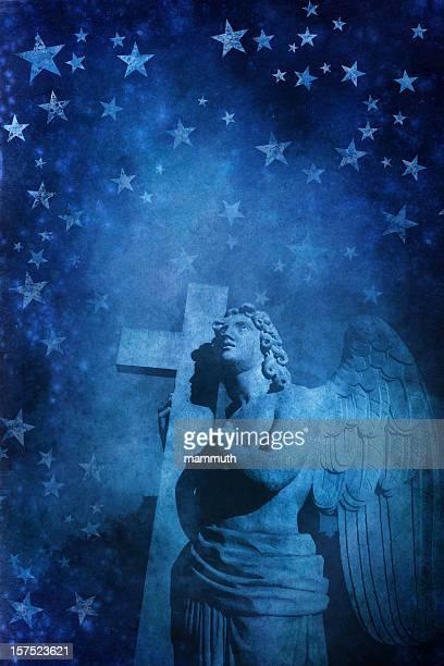 Blaue Engel mit Sternen Hintergrund
