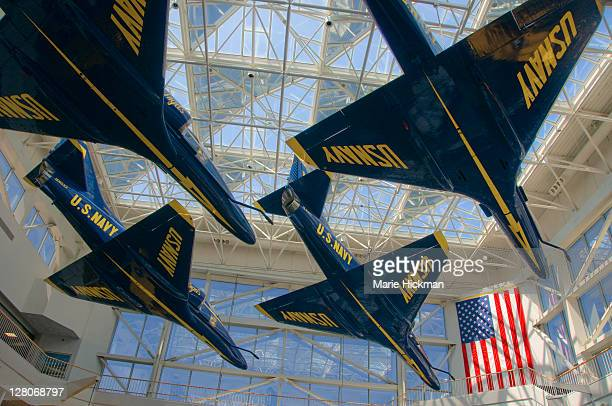Blue Angels airplanes suspended in air, in the National Naval Aviation Museum in Pensacola, Florida, USA