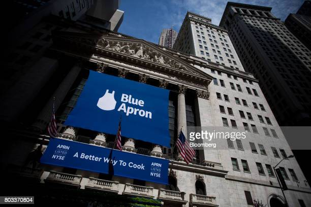 Blue Apron Holdings Inc signage is displayed during the company's initial public offering at the New York Stock Exchange in New York US on Thursday...