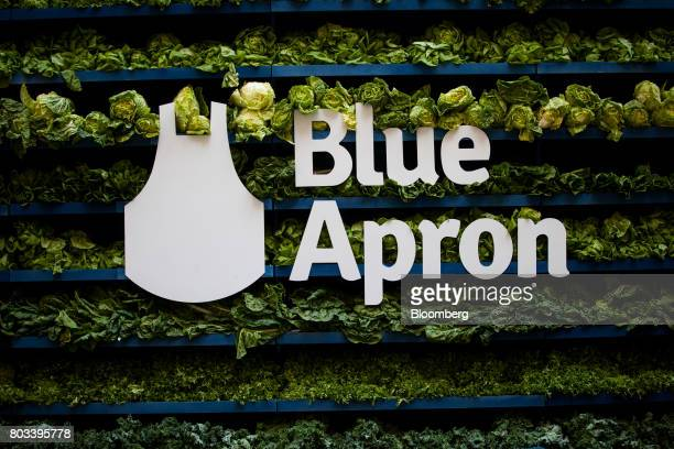 Blue Apron Holdings Inc signage is displayed during the company's initial public offering outside the New York Stock Exchange in New York US on...