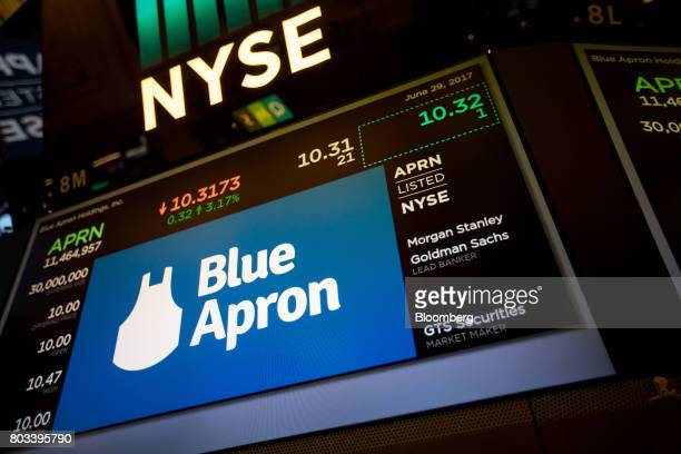 Blue Apron Holdings Inc signage is displayed during the company's initial public offering on the floor of the New York Stock Exchange in New York US...