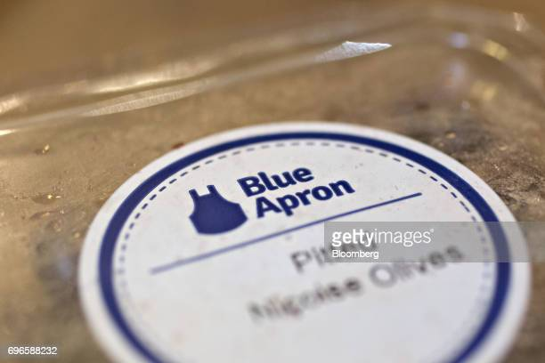 Blue Apron Holdings Inc signage is seen on a package of olives from a mealkit delivery in Tiskilwa Illinois US on Wednesday June 14 2017 Blue Apron...