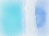 Blue aqua and white watercolor waves