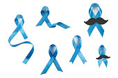 Blue awareness ribbons collection with and without mustache.