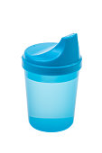 Blue plastic sippy cup filled with water isolated on white