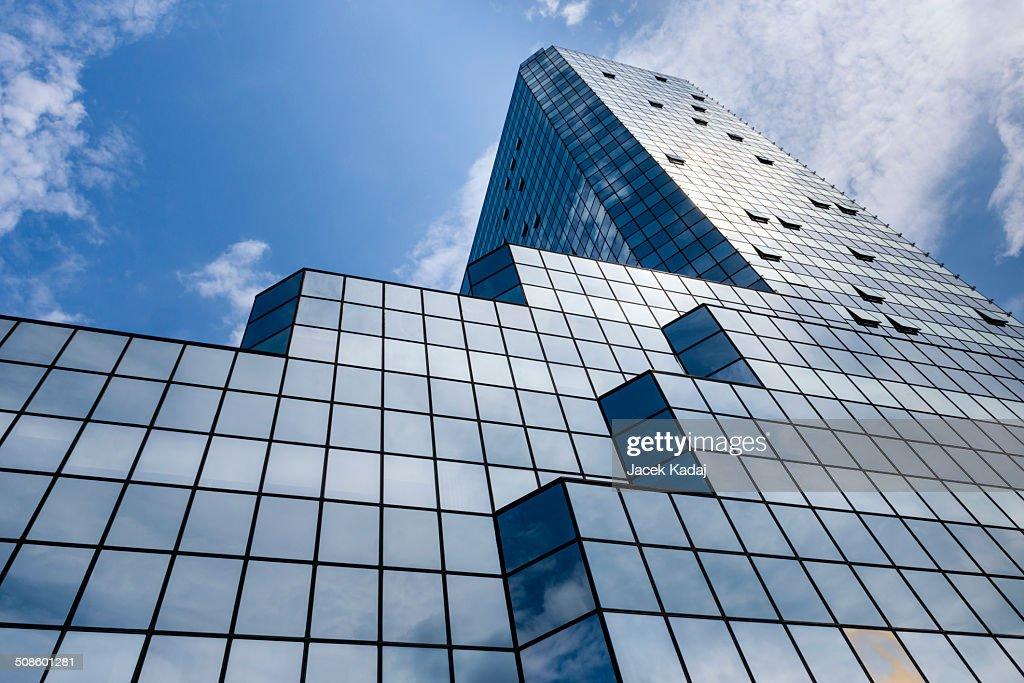 Blue background of glass high rise building : Foto de stock