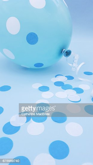 Blue Balloon and Confetti : Stock Photo