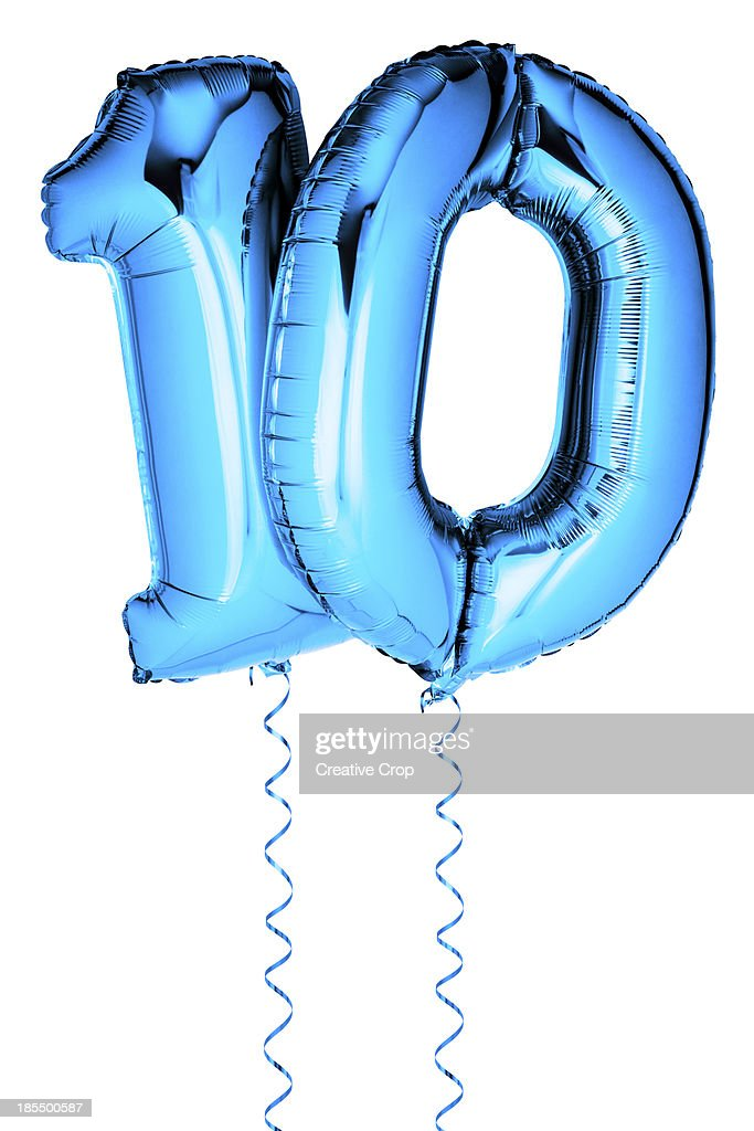 silver balloons in the shape of a 10