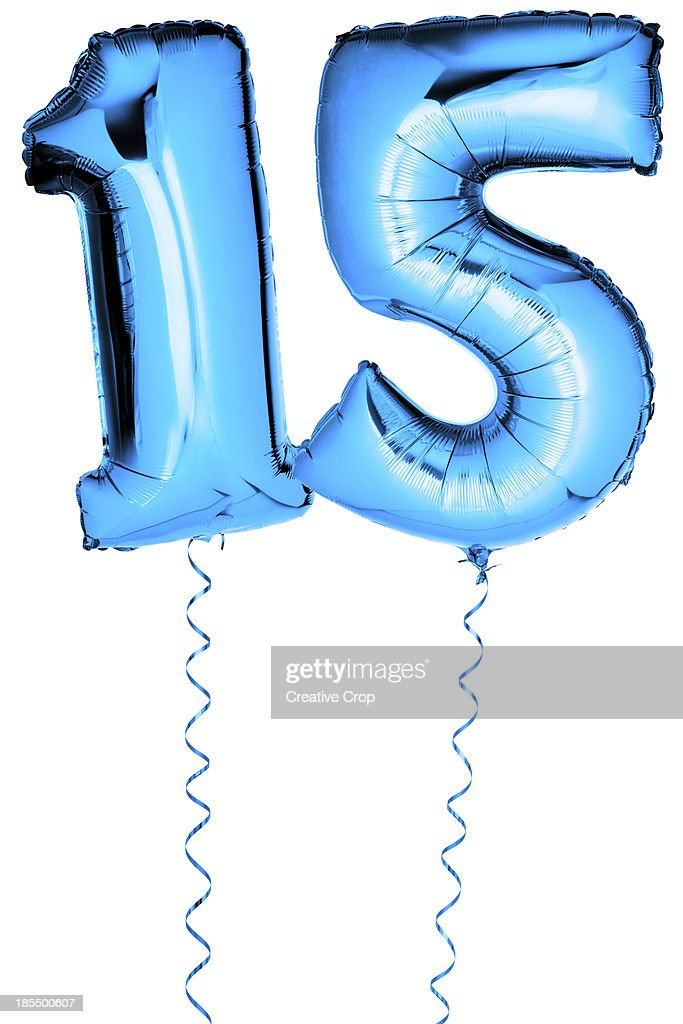 Blue balloons in the shape of a number 15