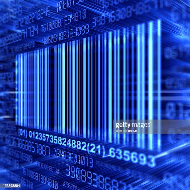 A blue barcode on a blue background