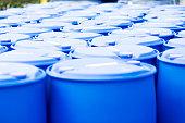 Chemical Plant, Plastic Storage Drums, Blue Barrels