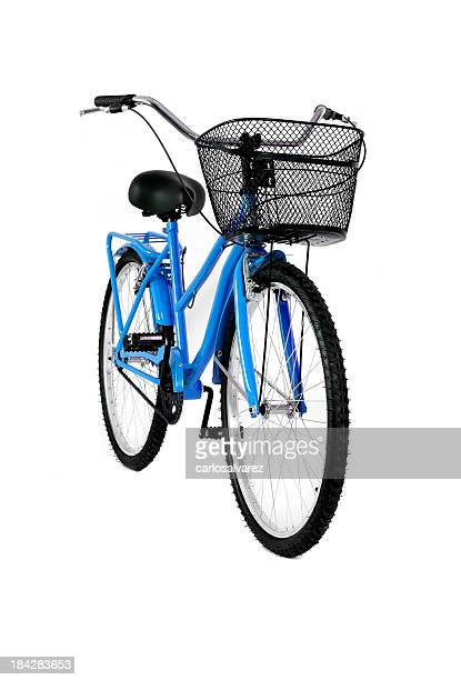 Blue bicycle isolated on white background