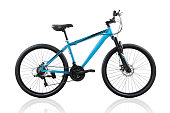 Blue bicycle isolated on a white background with clipping path