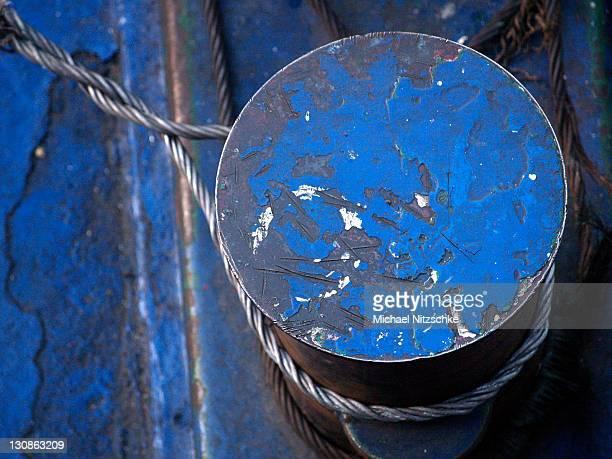 Blue bitt bollard with a rope Egypt