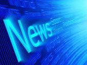 Blue blur of the news on a digital screen