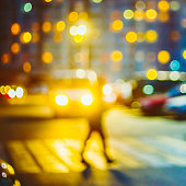 Defocused Blue Boke Bokeh Urban City Background Effect.  Design Backdrop