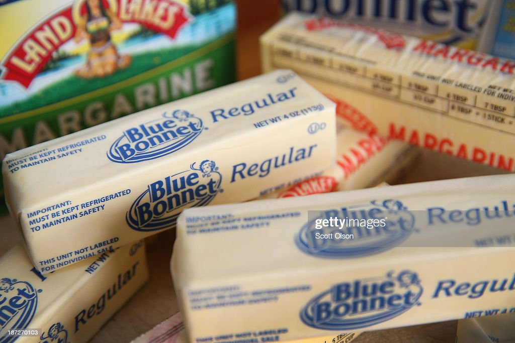 Blue Bonnet and Land O Lakes stick margarine, which contain trans fat ,are shown on November 7, 2013 in Chicago, Illinois. The U.S. Food and Drug Administration today proposed a rule change that would eliminate trans fat from all processed foods.