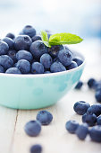 Blueberries in a bowl with leafs of mint