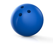 Blue bowling ball isolated on a white background