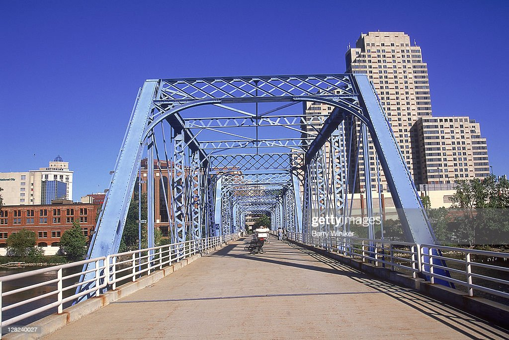 'Blue Bridge' crossing Grand River, Grand Rapids, MI
