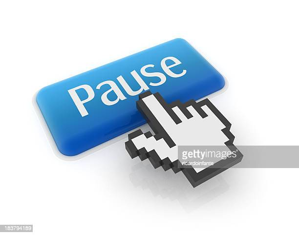 A blue button saying Pause being pressed by hand cursor