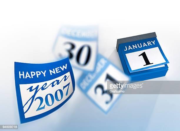 Blue calendar new year 2007 January 1st