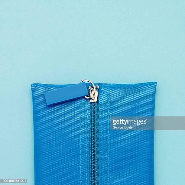 Blue canvas pencil case, section, close-up