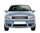 Blue car front-side (isolated with clipping path over white background)