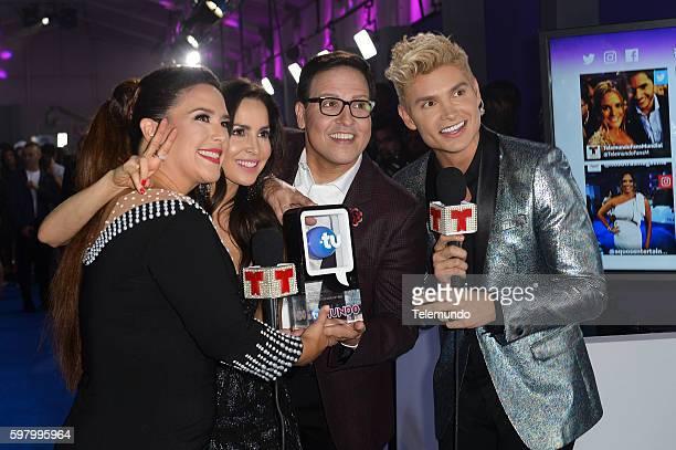 MUNDO 2016 'Blue Carpet' Pictured Angelica Vale Carmen Villalobos Raul Gonzalez and Christian Acosta arrive at the 2016 Premios Tu Mundo at the...