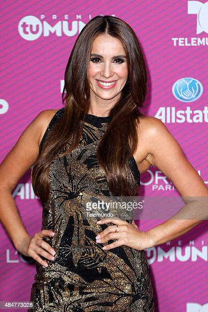 Catherine Siachoque arrives at the 2015 Premios Tu Mundo at the American Airlines Arena in Miami Florida on August 20 2015 PREMIOS TU MUNDO 2015...