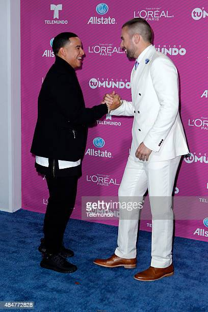Daddy Yankee and Rafael Amaya arrive at the 2015 Premios Tu Mundo at the American Airlines Arena in Miami Florida on August 20 2015 PREMIOS TU MUNDO...