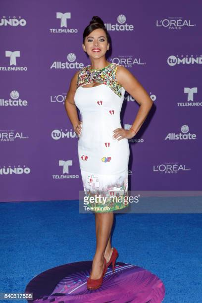 MUNDO 2017 'Blue Carpet' Pictured Sofia Lachapelle arrives to the 2017 Premios Tu Mundo at the American Airlines Arena in Miami Florida on August 24...