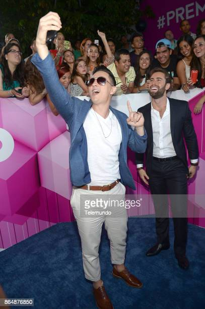 Victor Drija and Gabriel Rossi arrive at the 2015 Premios Tu Mundo from the American Airlines Arena in Miami Florida on August 20 2015 Photo by...