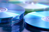 blue CD, DVD, Blue Ray stack