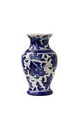 blue ceramic vase isolated on white background