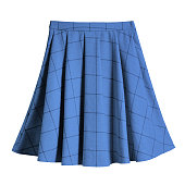 Blue checkered pleated cotton midi skirt isolated