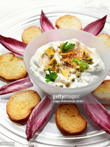 Blue cheese dip, toast and radicchio