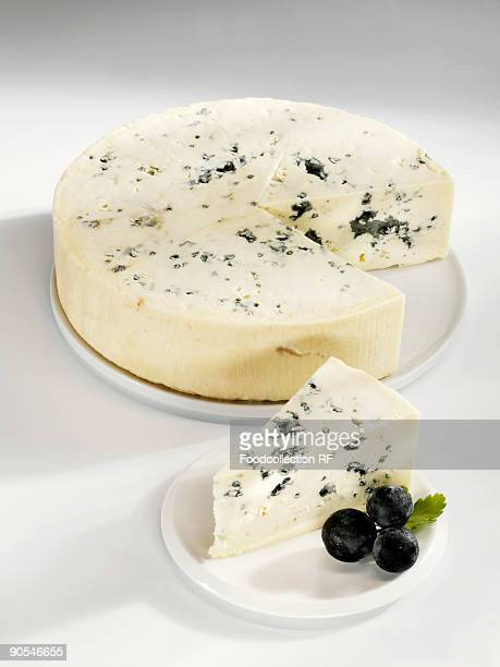 Blue cheese with grapes, close up