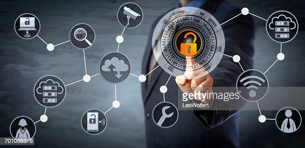 Blue Chip Manager Unlocking Access Control : Stock Photo