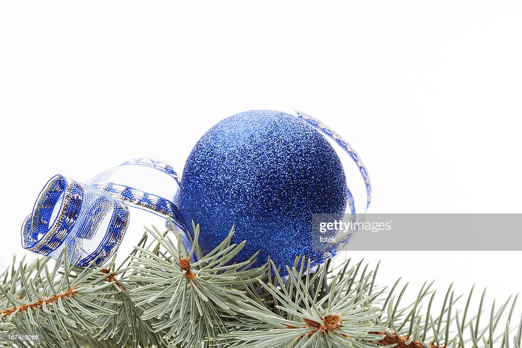 Blue christmas bauble : Stock Photo