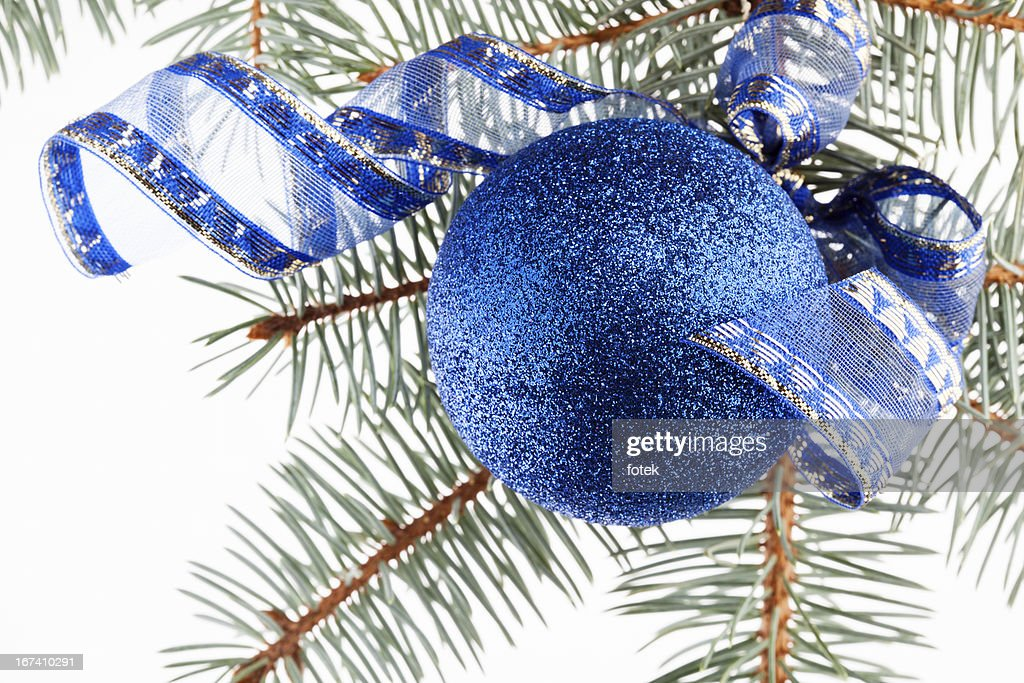 Blue christmas bauble : Stock Photo