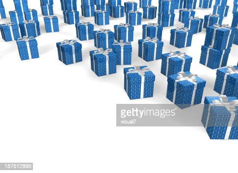 blue Christmas Presents with Bow : Stock Photo
