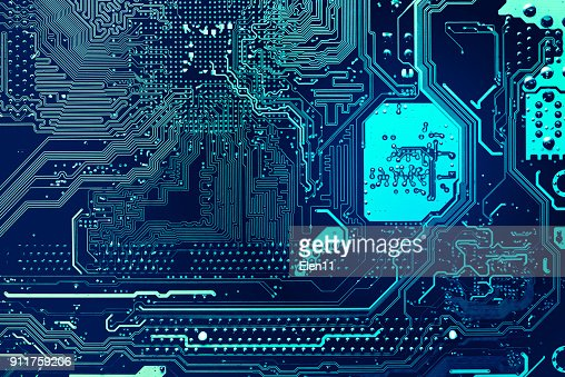blue circuit board background of computer motherboard : Stock Photo