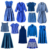 Set of blue woman clothes isolated over white