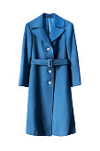 Elegant blue wool coat isolated over white