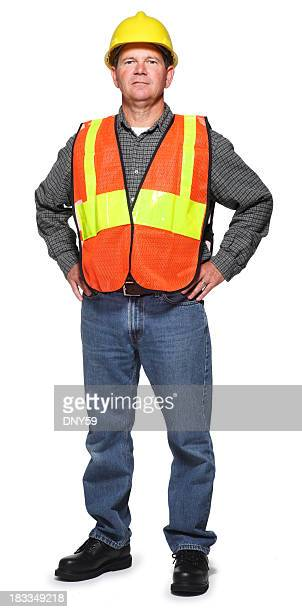 Blue collar worker wearing safety vest and hard hat