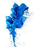 Blue color paint splash white background