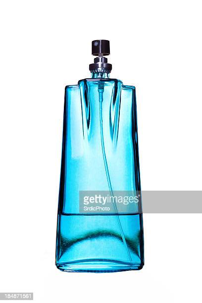 Blue color perfume glass bottle isolated on white background