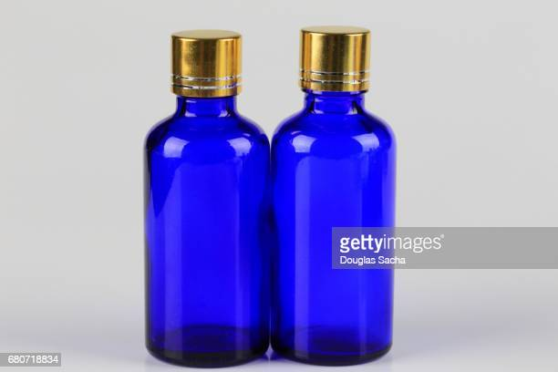 Blue colored bottles